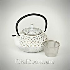 Victor Cast Iron Ivory And Gold Tea Kettle Pot Small 0.5 Litres With Infuser