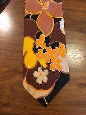 Vintage Hawaiian Mens Tie 4� Flowers Floral Brown Orange Mid Century