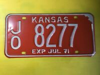 1971 Kansas License Plate All Original Low Number