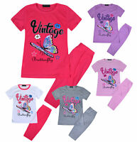 Girls Summer Short Sleeve T-shirt Tee Top And Leggings Set Kids New Age 2 - 10 Y