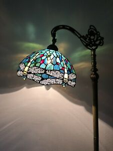 Enjoy Tiffany Floor Lamp Green Blue Stained Glass Dragonfly Antique Vintage H64""