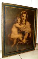 """Antique Religious Print 1900s Madonna Child Mary & Jesus Original Frame 14x18"""""""