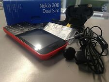 BRAND NEW GENUINE NOKIA 208 DUAL SIM RED 3.5G UNLOCKED & SIMFREE IN ORIGINAL BOX