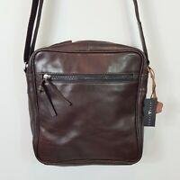 ALTA LINEA Mens Brown Leather Messenger Satchel Bag NEW + TAGS