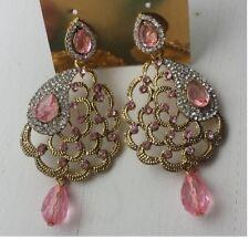 UK* Earring Long Drop Fashion Bridal Dangle Prom Party Weddings - Pink