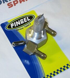 "Classic Race  Pingel Hi Flow Fuel Tap. Dual Race Outlet. 3/8"" NPT male fitting."