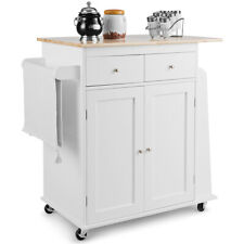 Rolling Kitchen Island Utility Trolley Cabinet Home Spice Towel Rack White