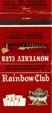 RAINBOW CLUB Gardena California Matchcover Matchbook Vintage Advertising