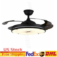 """42"""" Invisible Ceiling Fan w/ Light,Dimmable LED Chandelier,4Blade,Remote Control"""