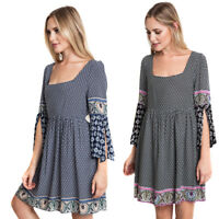 UMGEE Womens Navy Blue Black Boho Bohemian Slit Bell Sleeve Pheasent Dress S M L