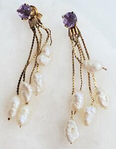 Estate 14k Yellow Gold Dangle Fresh Water Pearl Amethyst Earrings 1.6Gram 1 Inch