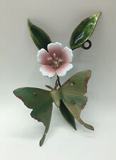 "BOVANO Of CHESHIRE Enamel On Metal 7"" BUTTERFLY & FLOWER Wall Hanging Sculpture"