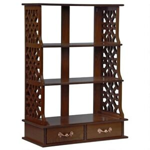 Hardwood Curio Chippendale-Style Chinese 3 Shelf Wall Display Cabinet