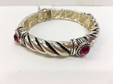 New Hot Pink Crystal & Silver Tone Rope Women's Stretch BRACELET