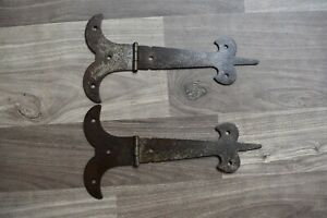 Vintage Iron hinges handmade French Gothic gate door tool box trunk chest 2 pcs