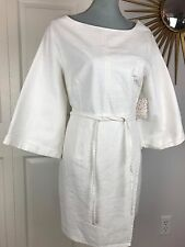 New Free People Anthropologie Cotton Ivory Denim Dress 3/4 bell sleeve Sz 12 NWT