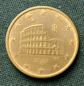 2002 r Italy 5 Euro Cent AU   Copper Plated Steel World Coin    #K1377