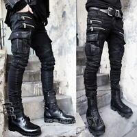HOT Men's Slim Skinny Pocket Biker Punk Rock Denim Jeans Embossed Trousers Pants