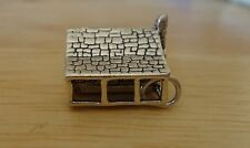 Sterling Silver 16x14x9mm 6g Log Cabin House Porch Chimney Hollow Charm