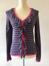 PER UNA purple / Grey Striped Thin Knit Cardigan Size 10 VGC