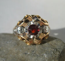 Bague ancienne Art Déco grenat - Or bicolore massif 18 carats French gold 750