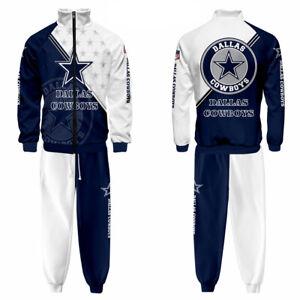 Dallas Cowboys 2Pcs Tracksuit Sweat Suit Zip Up Jacket Sport Top Jogger Pants