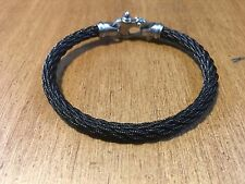 NWT Men's 316L Stainless Steel Braided Black Bracelet w/Mariner's Shackle Clasp
