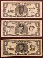 1962 Topps Baseball Bucks Lot Of 3 Different Players Very Good Condition