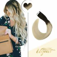 Ugeat 20pcs Tape in Human Hair Extension Silky Straight Ombre Brown to Blonde