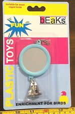 Parrot Bird Cage Toy Hanging Mirror with Bell Cute Caged Bird Fixture