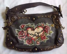 "ISABELLA FIORE Rare Brown Distressed Leather ""ME HEARTY"" Tattoo Hobo Bag"