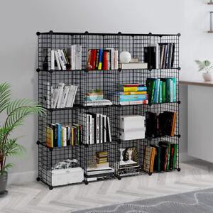 16 Metal Wire DIY Storage Cubes Bookcase Shelving Unit Wardrobe Display Black UK