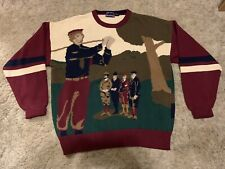VTG Hathaway Size XL Hand Intarsia Golf Golfer Sweater Graphic Front and Back