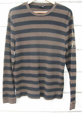 Vans Mens XL L/S Waffle Knit Crew Neck Pullover Brown Black Striped
