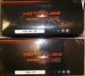 2 x BUY!!!! Mototube 110/90-19 + 3.00-21 Inch Motorcycle Heavy Duty Tubes 4mm