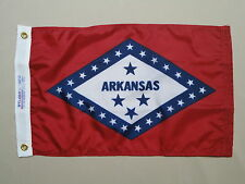 "Arkansas State Indoor Outdoor Dyed Nylon Boat Flag Grommets 12"" X 18"""