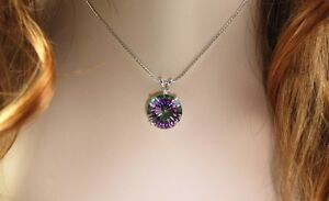 Mystic Quartz 16mm 13.29 ct Round Pendant / Necklace - Sterling Silver
