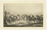 ANTIQUE JOCKEY WHITE HORSE EQUESTRIAN RACING VICTORIAN MINIATURE ART PRINT