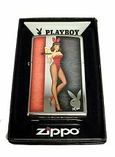 Zippo Custom Lighter Red Costumed Playboy Cocktail Waitress Polished Chrome