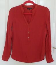 TOMMY HILFIGER Women's Red Long Sleeve Polo Shirt Top Size S, M uk 8, 10