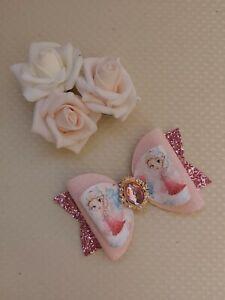 Elsa Frozen Disney Hair Bow Clip pink 4.5 inch embellished