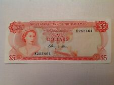 1974 Bahamas five 5 Dollars  Elizabeth II - P #  37b Choice  A/Uncirculated