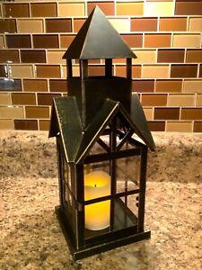 "Pier 1 Imports 12"" x 4.25"" Farmhouse Glass Metal Lantern Candle Holder GUC"
