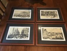 Set Of Four Wood Framed Prints Depicting Images Of Melbourne In The 1880s