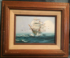 Vintage Original Oil Painting Artist Signed Clipper Ship Nautical Birds