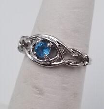 Beautiful Light Blue Faux Aquamarine CZ Silver Tone Twist Ring ~ Size 6.5