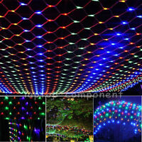 Multi-color LED Curtain Net Mesh String Fairy Light Christmas Outdoor Decor Lamp