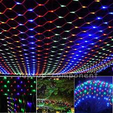 Multi-color LED Curtain Net Mesh String Fairy Light Christmas Outdoor Decor Lamp