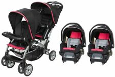 Baby Trend Double Stroller With 2 Car Seats Sit N Stand Optic Pink Travel System