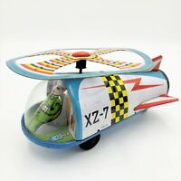 Auth Retro Vintage Tin Space Ship Toy w Working Friction Rotor  Asahi Toys JAPAN